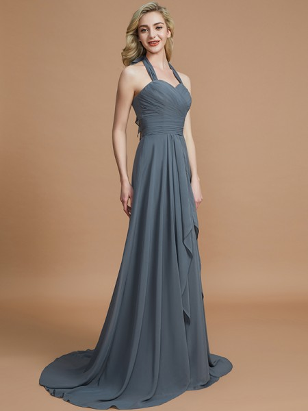 A-Line/Princess Halter Chiffon Sweep/Brush Train Bridesmaid Dress