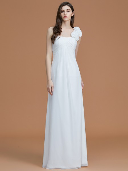 A-Line/Princess One-Shoulder Floor-Length Hand-Made Flower Chiffon Bridesmaid Dress