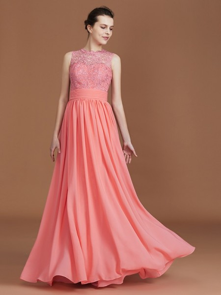 A-Line/Princess Jewel Floor-Length Chiffon Bridesmaid Dress