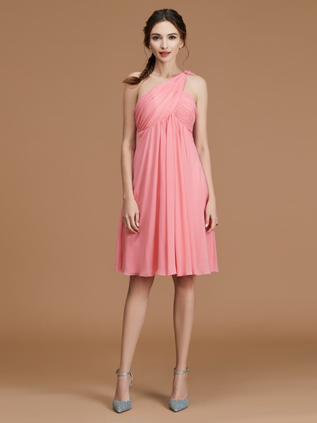A-Line/Princess One-Shoulder Short/Mini Chiffon Ruched Bridesmaid Dress