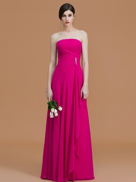 A-Line/Princess Strapless Floor-Length Chiffon Ruffles Bridesmaid Dress