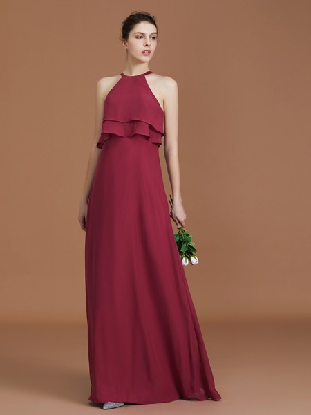 A-Line/Princess Scoop Floor-Length Chiffon Bridesmaid Dress Ruffles