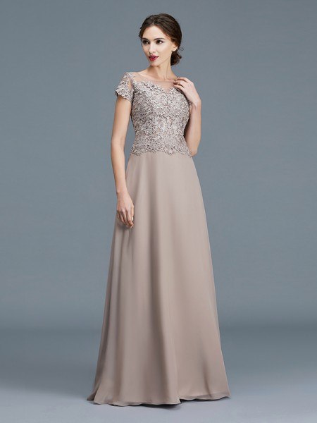 A-Line/Princess Scoop Floor-Length Chiffon Applique Mother of the Bride Dress
