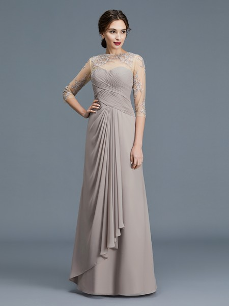 A-Line/Princess Sheer Neck Chiffon Floor-Length Ruffles Mother of the Bride Dress