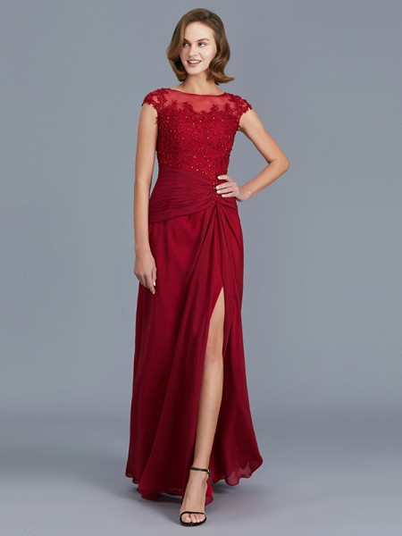 Sheath/Column Scoop Chiffon Floor-Length Ruffles Mother of the Bride Dress