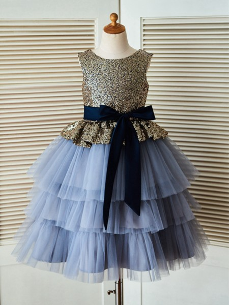 A-Line/Princess Tea-Length Scoop Sequin Sleeveless Tulle Flower Girl Dresses