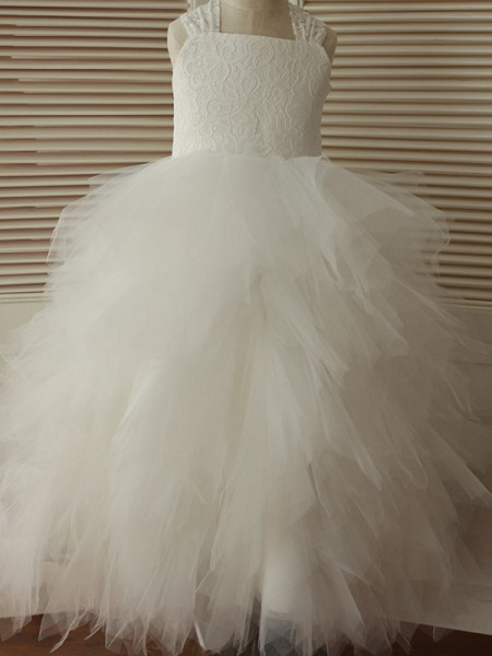 A-Line/Princess Ankle-Length Straps Lace Sleeveless Tulle Flower Girl Dresses