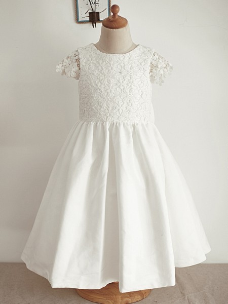 A-Line/Princess Lace Sequin Sleeveless Scoop Knee-Length Flower Girl Dresses