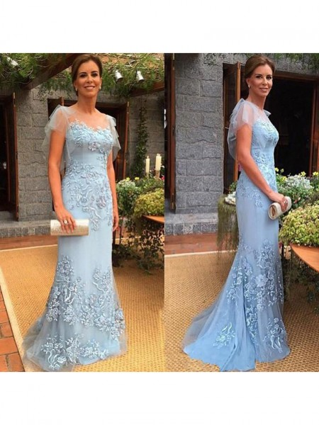 Sheath/Column Sheer Neck Sweep/Brush Train Tulle Applique Mother of the Bride Dress