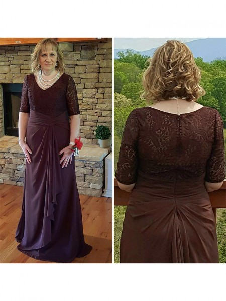 A-Line/Princess V-neck Lace Sweep/Brush Train Chiffon Mother Of The Bride Dress