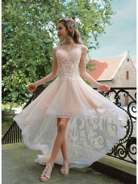 A-Line/Princess Organza Applique Sheer Neck Sleeveless Asymmetrical Dresses