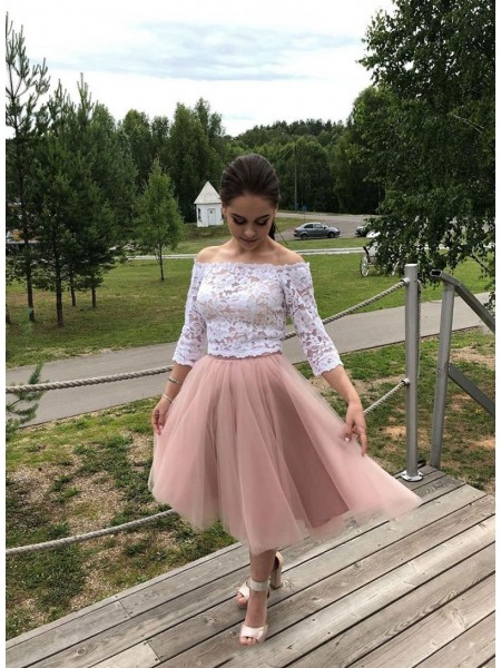 A-Line/Princess Lace Tulle Off-the-Shoulder Long Sleeves Tea-Length Dresses
