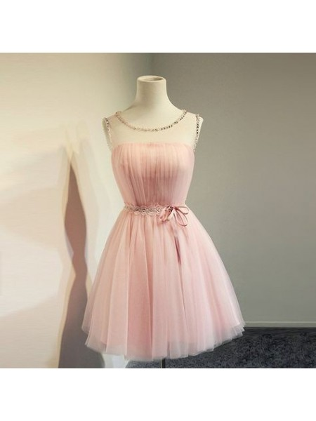 A-Line/Princess Tulle Beading Sleeveless Scoop Short/Mini Dresses