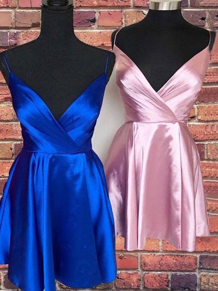 A-Line/Princess Satin Spaghetti Straps Sleeveless Ruffles Short/Mini Dresses