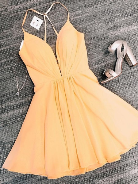 A-Line/Princess Chiffon V-neck Sleeveless Ruffles Short/Mini Dresses