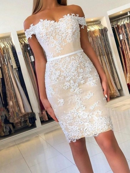 Sheath/Column Lace Off-the-Shoulder Sleeveless Applique Short/Mini Dresses