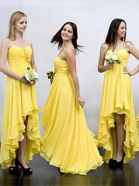 A-Line/Princess Asymmetrical Spaghetti Straps Chiffon Bridesmaid Dress