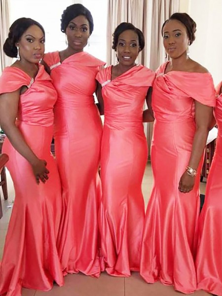 Trumpet/Mermaid Off-the-Shoulder Floor-Length Satin Bridesmaid Dress