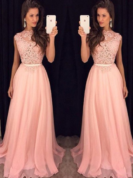 A-Line/Princess High Neck Sleeveless Chiffon Floor-Length Dress