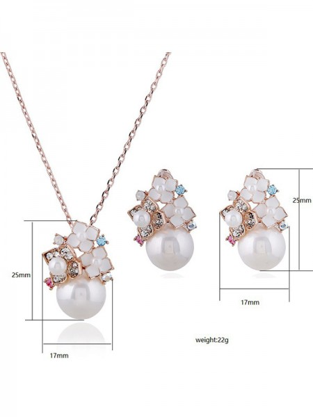 New Alloy With Pearl Ladies's Jewelry Set