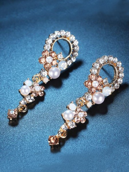 Korean Luxurious Alloy With Rhinestone Earrings