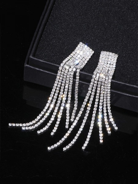 Fancy Rhinestone Long Tassel Earrings