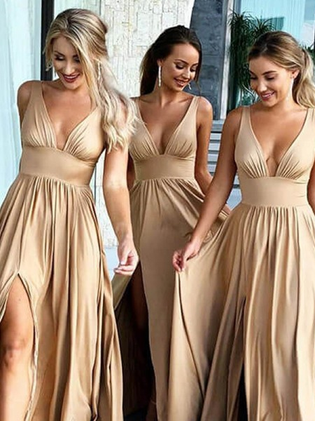 A-Line/Princess V-neck Sleeveless Sweep/Brush Train Ruffles Silk like Satin Bridesmaid Dresses