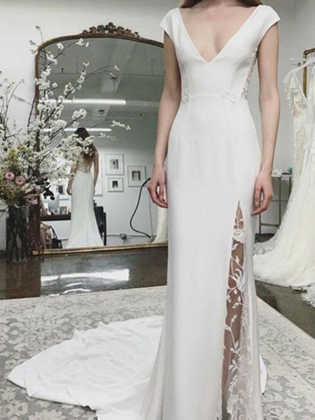 Sheath/Column Satin Lace V-neck Sleeveless Court Train Wedding Dresses
