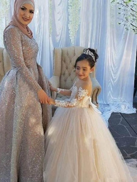 Ball Gown Long Sleeves Sweep/Brush Train Off-the-Shoulder Applique Tulle Flower Girl Dresses