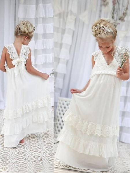 Empire V-neck Sleeveless Floor-Length Lace Chiffon Flower Girl Dresses