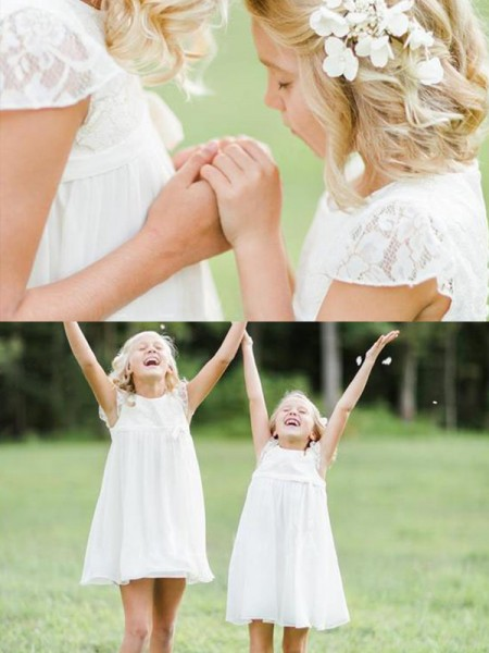 A-Line/Princess Short Sleeves Knee-Length Lace Chiffon Flower Girl Dresses