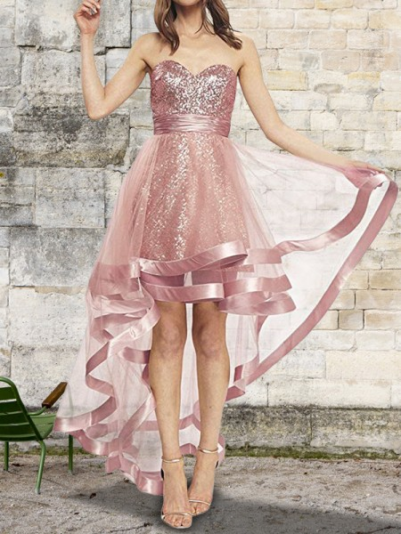 A-Line/Princess Sleeveless Sweetheart Asymmetrical Sequin Organza Dress