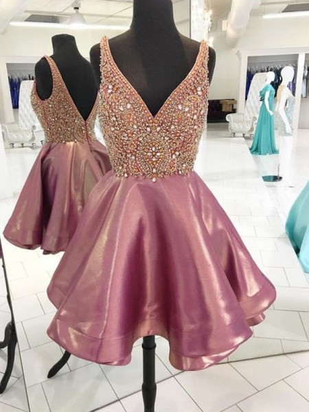 A-Line/Princess Sleeveless V-neck Satin Beading Short/Mini Dress