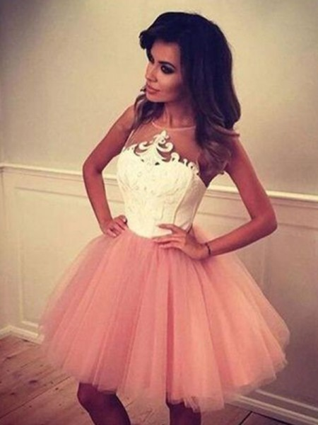 A-Line/Princess Sleeveless Tulle Applique Short/Mini Dress