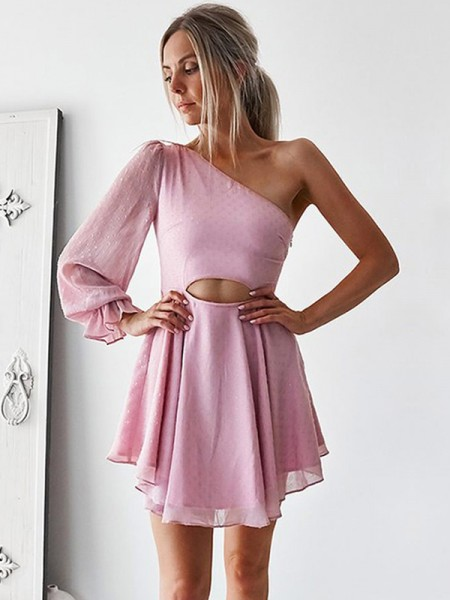 A-Line/Princess Chiffon One-Shoulder Long Sleeves Ruffles Short/Mini Dress