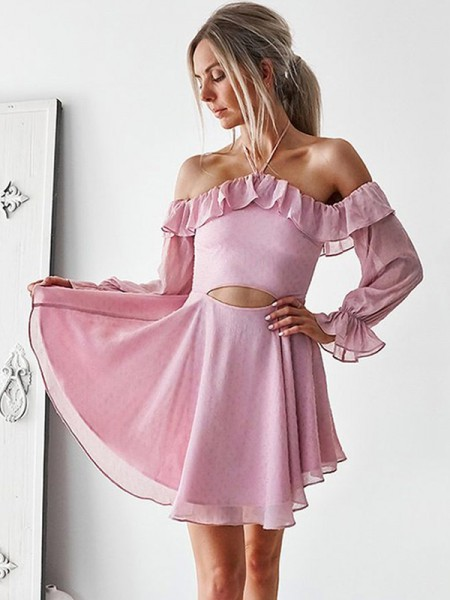 A-Line/Princess Ruffles Chiffon Long Sleeves Short/Mini Dress