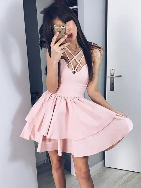 A-Line/Princess Satin Spaghetti Straps Sleeveless Ruffles Short/Mini Dress