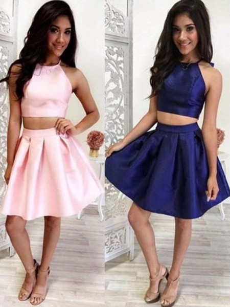 A-Line With Ruffles Satin Sleeveless Short/Mini Two Piece Dress
