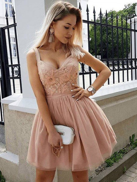 A-Line/Princess Sleeveless Straps Tulle Beading Short/Mini Dress