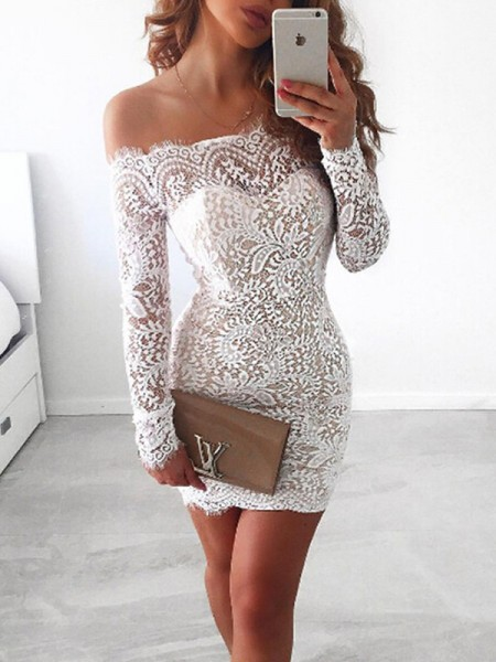 Sheath/Column Long Sleeves Lace Short/Mini Dress
