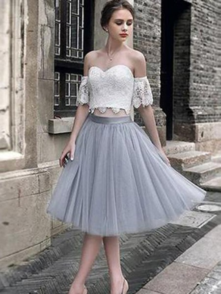 A-Line/Princess Lace Sweetheart Tulle Sleeveless Tea-Length Two Piece Dress