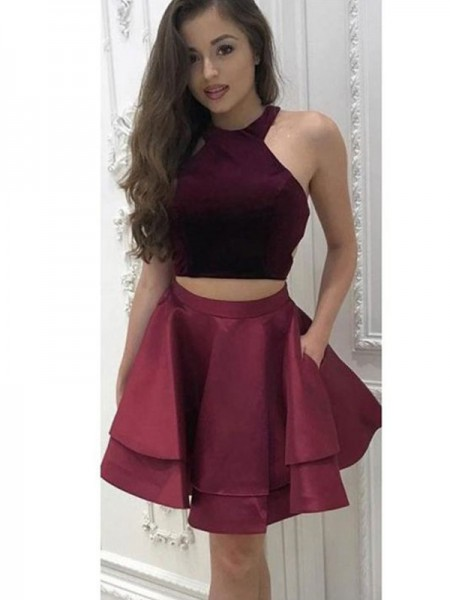 A-Line/Princess Sleeveless Satin Ruffles Two Piece Short/MiniDress