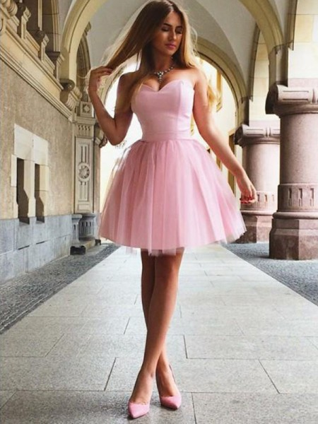A-Line/Princess Sweetheart Ruffles Sleeveless Satin Short/Mini Dress
