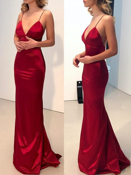 Sheath/Column Spaghetti Straps V-neck Satin Sweep/Brush Train Dress