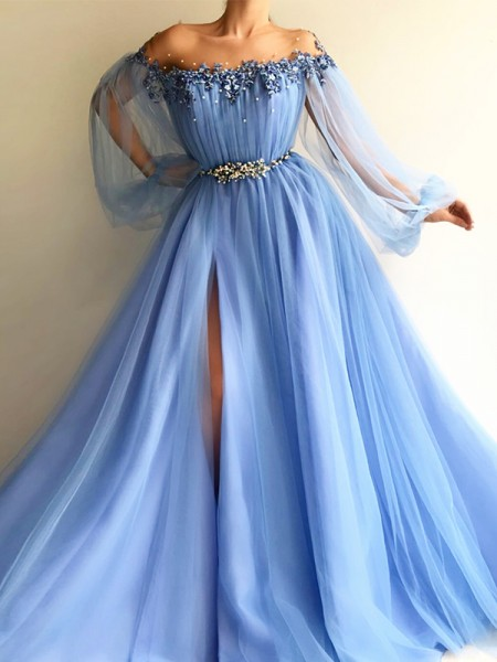 A-Line/Princess Long Sleeves Off-the-Shoulder Tulle Beading Floor-Length Dress