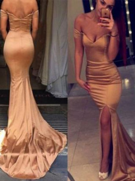 Trumpet/Mermaid Off-the-Shoulder Sleeveless Court Train Satin Dress