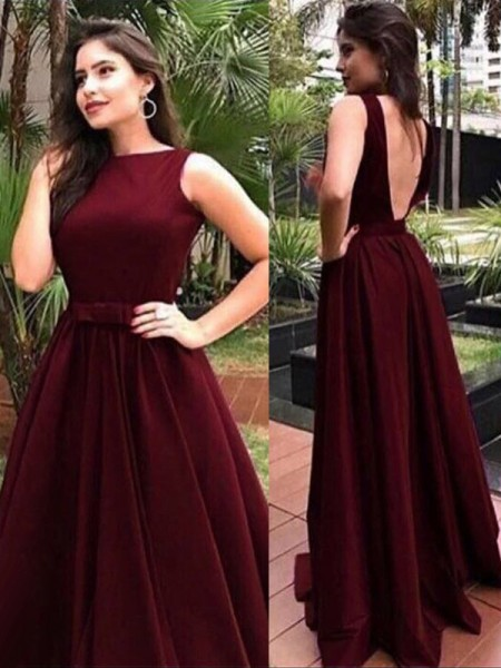 A-Line/Princess Sleeveless Floor-Length Sash/Ribbon/Belt Velvet Dress