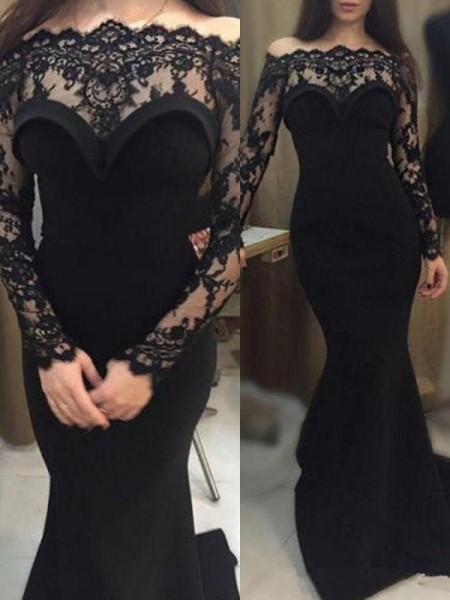 Trumpet/Mermaid Long Sleeves Off-the-Shoulder Lace Sweep/Brush Train Elastic Woven Satin Dress