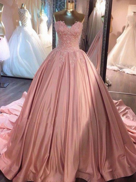 Ball Gown Sleeveless Sweetheart Court Train Lace Satin Dress