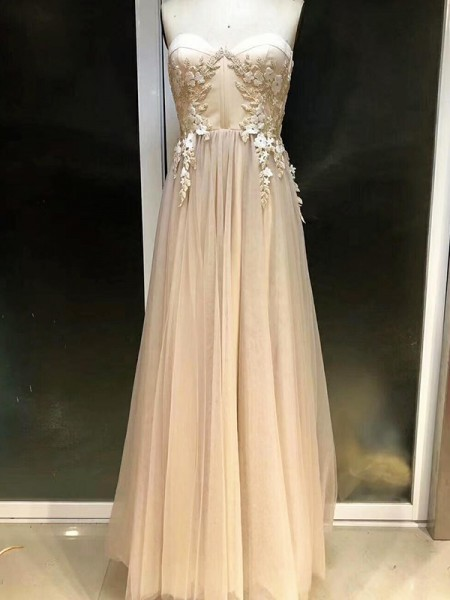 Empire Sleeveless Sweetheart Floor-Length Applique Tulle Dress